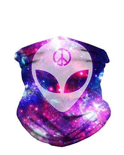 iHeartRaves We Rave in Peace Alien Multi-Functional Face Cover Seamless Bandana Mask
