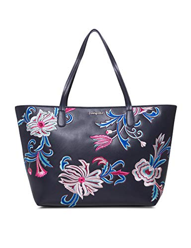 Desigual - Bag Orangina Capri Zipper Women, Shoppers y bolsos de hombro Mujer, Azul (Navy), 13x28x30 cm (B x H T)