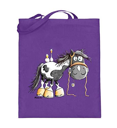 Happy Pinto Pferd Comic I Schecke Tinker I Modartis Pferde I Pony I Reiter Geschenk - Jutebeutel (mit langen Henkeln) -38cm-42cm-Violett
