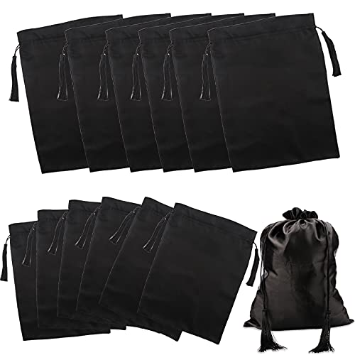 Kaiersi 12 Pcs Silk Satin Wig Bags Satin Bag for Packaging Hair Extensions Wigs Soft Silk Pouches with Drawstring Tassel Travel Bags Hair Tools Storage Bags for Home and Salon Use