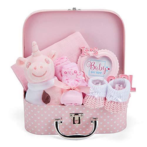Baby Geschenk Mädchen mit Baby Erstausstattung, Baby Set einschließlich Rassel, Fotorahmen, Musselin Tuch, Lätzchen, Socken, Handschuhe und Mütze