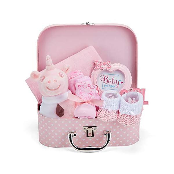 Baby Geschenk Mädchen mit Baby Erstausstattung, Baby Set einschließlich Rassel, Fotorahmen, Musselin Tuch, Lätzchen…