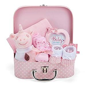 Baby Box Shop Cesta para Bebé para Regalo Baby Shower Niña con Accesorios para Recién Nacido - Incluye Sonajero - Marco de Foto - Muselina Bebé - Babero de Bebé - Calcetines - Manoplas y Gorrito bebé