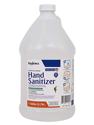 Hygienex Hospital Grade Hand Sanitizer Liquid 1 Gallon (128 Oz.) Scented with Eucalyptus Oil, 80% Alcohol Made in USA WHO Approved Formula