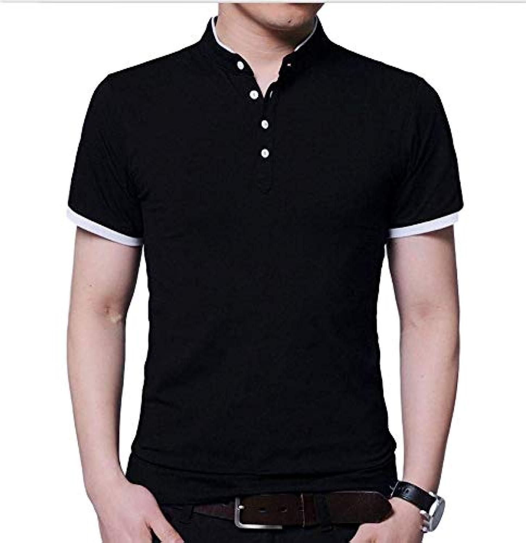 [タイセック]メンズ ポロシャツ 半袖 ストレッチ タイト 無地 綿 ボタン 春 カジュアル M~XL