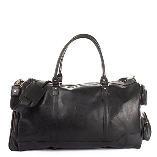 LECONI XL Reisetasche Sporttasche echtes Rindsleder Damen + Herren Weekender Handgepäck Reise Ledertasche 55x30x27cm schwarz LE2017-wax
