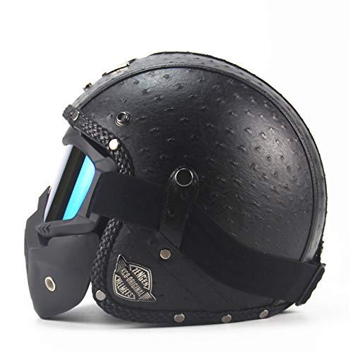 AHNNER Motorrad Crash Harley Helm, DOT Certified Retro Motorrad Cruiser Jethelm Dirt Bike Half Helm mit Maske Erwachsene, 57-62CM,Schwarz,XL