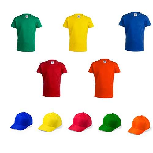 Camiseta + Gorra Infantil de Colores. Lote de 20 Unidades. Regalo para los niños en Cumpleaños, Bodas, Comuniones, Fiestas del Colegio, excursiones y Eventos