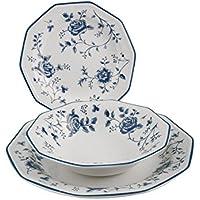 Churchill Rose Earthware - Vajilla (18 Piezas), Color Blanco y Azul