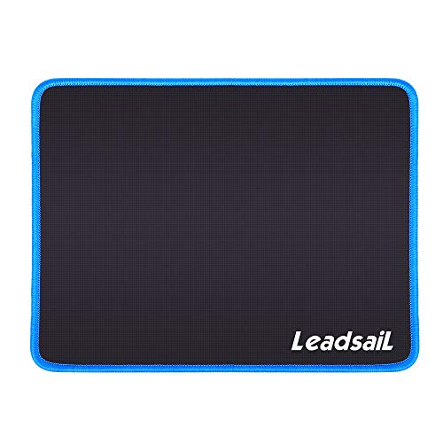 LeadsaiL Mouse Pad with Stitched Edge, Premium-Textured Mouse Mat, Non-Slip Rubber Base, Waterproof Mousepad, for Laptop, Computer & PC, 10.6×8.3×0.15 inches (Blue)
