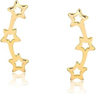 Brinco ear cuff com estrelas vazadas folheado em ouro 18k