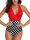 Mujer Halter Trajes de Baño Una Pieza V-Cuello Push-up Monokini Push-up Acolchado Bikini(Punto Rojo L)