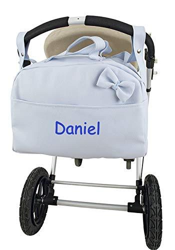 Bolso Polipiel Carrito Bebé Personalizado con Nombre Bordado Color Celeste + Regalo de un Babero