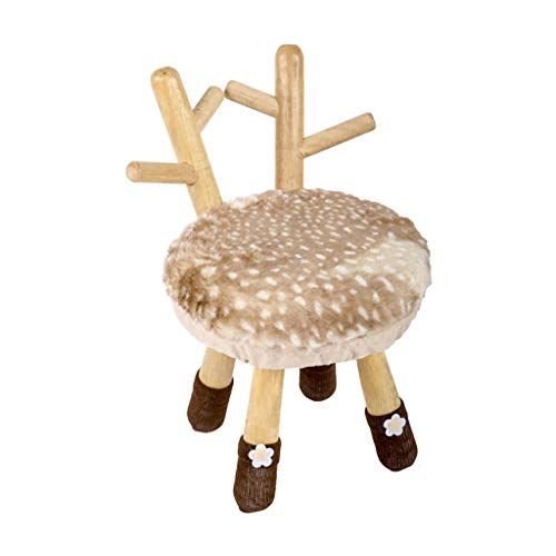 LSLS Reposapiés Sofá de taburete bajo zapatos de madera maciza tapizada creative infantil de dibujos animados de dibujos animados silla de ciervo 4 piernas acolchadas para dormitorio sala de e
