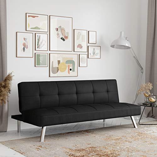 Serta RNE-3S-BK-SET Rane Collection Convertible Sofa, Black