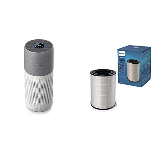 Philips AC3033/10 Luftreiniger Connected 3000I (für Allergiker und Raucher, bis zu 104M², Cadr 400M³/H, Aerasense-Sensor, mit App-Steuerung) weiß/grau mit Ersatzfilter FY3430/30