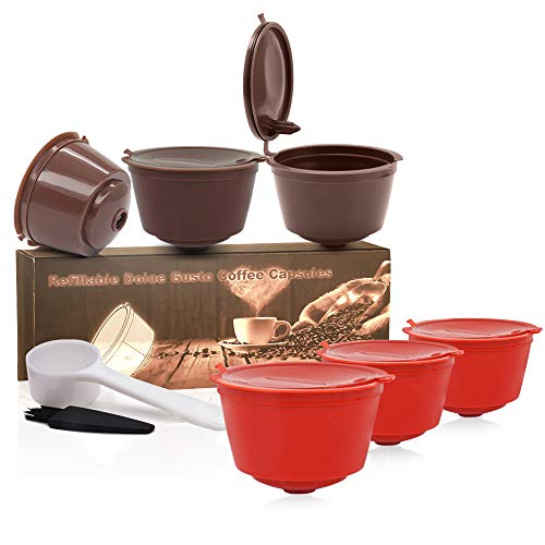 MG Coffee Refillable Dolce Gusto Coffee Capsule,Reusable Holder Coffee Pod Compatible with Mini Me, Genio, Piccolo, Esperta and Circolo (6 PCS) (Brown+Red)