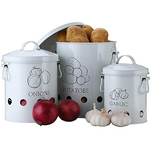G.a HOMEFAVOR Olla Patatas, Cubo de Lata para Almacenamiento de Patatas, Cesta de Metal para Frutas, Verduras y Cebolla, Envases para ajo para la Cocina, Set de 3