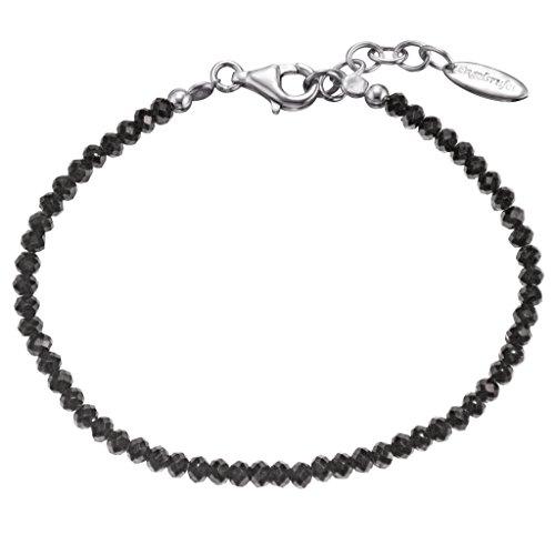 Engelsrufer Black Spinel Armband für Damen rhodiniertes 925er-Sterlingsilber Länge 18 cm + 2 cm