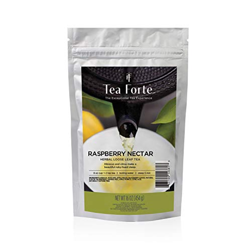 Tea Forte Raspberry Nectar | Infusion ecologica Frambuesa a Granel | Te Hojas Enteras | Zip Bag 454 gr