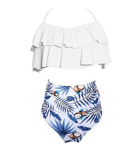 Rosiika Mädchen Kinder Badeanzug Zweiteiliger Bikini Set Rüschen Falbala Bademode Badeanzüge - Weiß - 8-9 Jahre