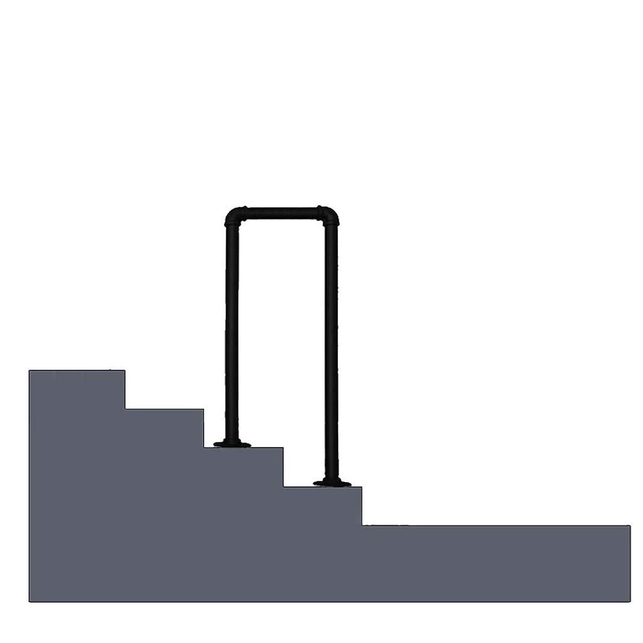 マニア経済的スナップKDJJH U字状のミッド遷移手すり、ブラックマット2 ステップ 階段の手すりインストールキットと階段の手すり 階段の手すり、U字状,75cm(2.5ft)