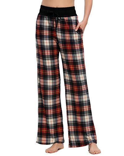MINTLIMIT - Pantalones de pijama para mujer, cómodos, informales, con cordón, pantalones de salón Palazzo Negro Cuadros - Negro Rojo L