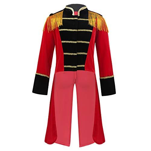 FEESHOW Kinder Jungen Zirkus Kostüm Langarm Frack Mantel Top Zirkusdirektor Cosplay kostüm Party Geburtstag Rot 98-104/3-4 Jahre