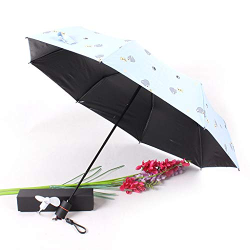 CapsA Travel Umbrella,Charging Folding Umbrella with Fan 2000 MAh to Send Fan Windproof Reinforced Quick-Drying Lightweight Sun Rain Umbrella (Blue)