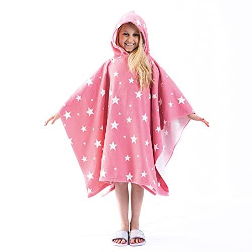 Dreamscene DTPOSTRBL28 Poncho Asciugamano fasciatoio Ragazze, Blush Pink Star Print, One Size Unisex-Bambini