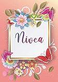 Nivea: Taccuino A5 | Nome personalizzato Nivea | Regalo di compleanno per moglie, mamma, sorella, figlia | Design: farfalla | 120 pagine a righe, piccolo formato A5 (14.8 x 21 cm)