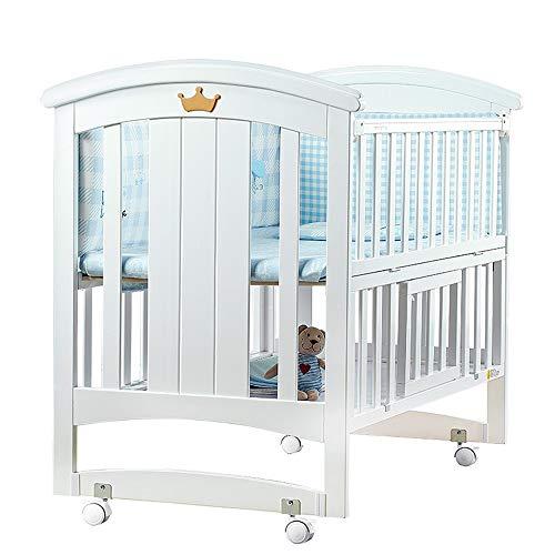 PN-Braes Kinderbett Europäische Krippe Babybett Bett Mit Roller Massivholz Multifunktionale Kleinkindspielbett Bett Geeignet Für Babys Zu Schlafen EIN gutes Geschenk für Ihr Baby