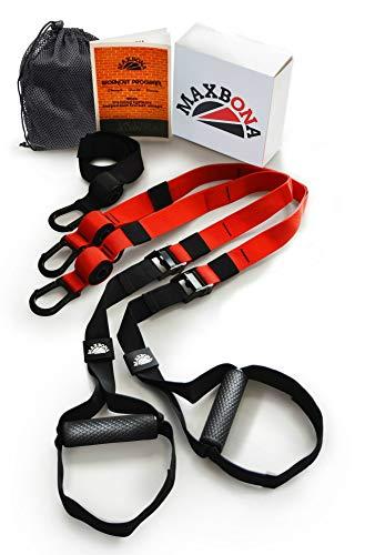 MAXBONA Trainer Kit de Entrenamiento en suspensión – Correas de suspensión para Gimnasio & Fitness en Interiores y Aire Libre – Compacta Sistema de Entrenamiento en Casa – Home Gym Ligero y Robusta