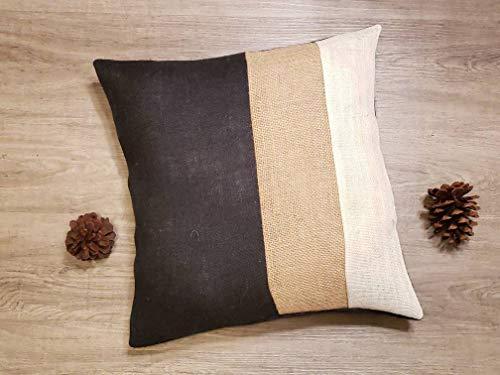 ArthuereBack Custom threetone streep zwart ivoor natuurlijke of maak eigen kleuren rustieke jute kussen coversham