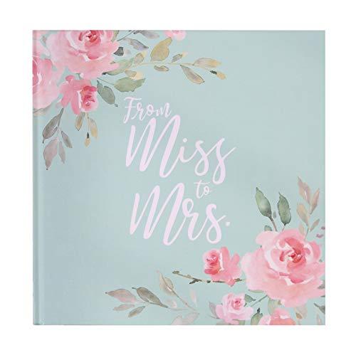 Gäste-Buch Foto-Album from Miss to Mrs in Mint-grün, rosa, pink & Gold mit Blumen-Motiv-en -...