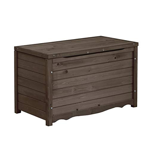 ベンチ ボックス 木製 幅86 屋外 ストッカー ポリタンク 収納 ふた付き 椅子 ダークブラウン