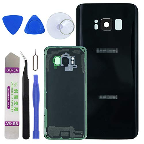 LUVSS [Extra Adhesive Back Glass Assembly for Samsung Galaxy S8 G950 (All Carriers) Rear Cover Glass Panel Case Housing + Camera & Flash Lens with Opening Tools Kit (Black)