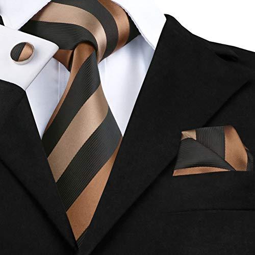 WOXHY Corbata de los Hombres Sn-585 Conjuntos de Gemelos de pañuelo de Corbata a Rayas marrón Chocolate Negro Corbatas de Seda 100% para Hombres Novio Formal para Bodas