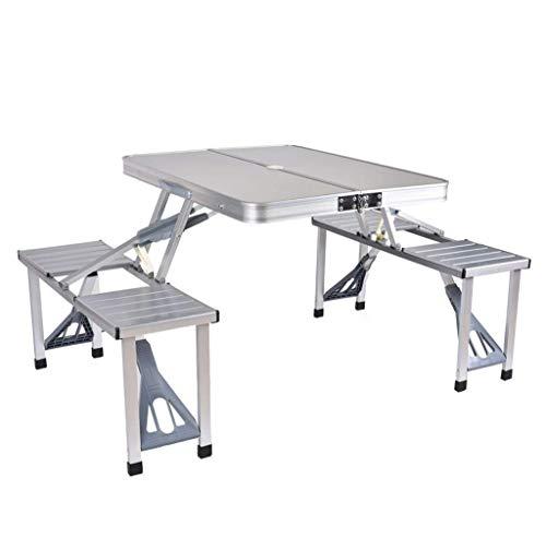 Klappbarer Picknicktisch mit 4 Sitzplätzen Tragbarer Camping-Tisch mit Bank Außenkoffer Tischspiel Biertisch für Terrassenaktivitäten im Freien Gartengebrauch Stark