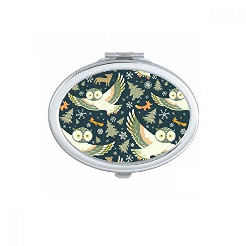 DIYthinker Beaux Oiseaux hiboux Motifs Floraux Ovale Maquillage Compact Miroir de Poche Portable Mignon Petit Miroirs Main Cadeau Multicolor