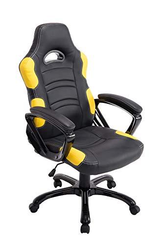CLP Sedia Gaming Ufficio Ricardo XL In Similpelle I Poltrona Racing Carico Max 150KG I Poltrona Sportiva Regolabile, Colore:nero/giallo