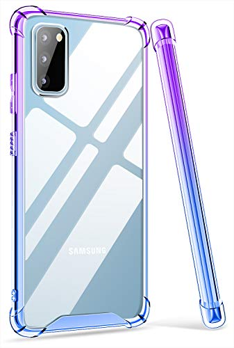 ANSIWEE Galaxy S20 Plus 6.7 Inch Case, Slim Soft Color Gradient and Clear Hard Back Shock Drop Proof Impact Resist Extreme Durable Case for Samsung Galaxy S20 Plus (Purple Blue)