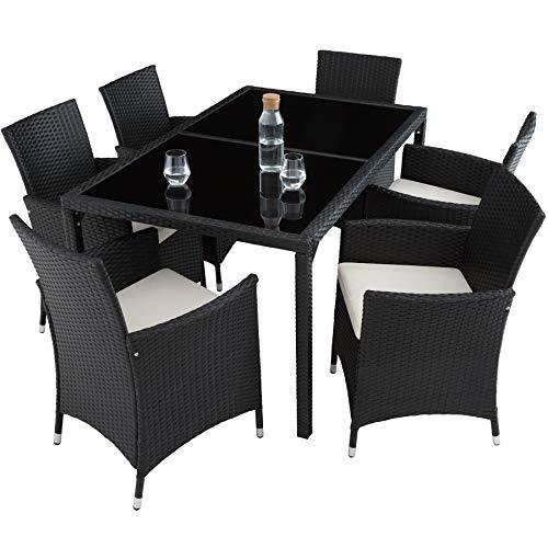 TecTake 800325 - Poly Rattan Sitzgruppe, 6 Stühle mit Sitzkissen, 1 Tisch mit 2 Glasplatten, inkl. Schutzhülle - Diverse Farben - (Schwarz | Nr. 402058) - 5