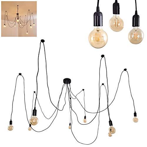 Pendelleuchte Imini, moderne Hängelampe aus Metall in Schwarz, 8-flammig mit Textilkabeln, 8 x E27, max. 60 Watt, Höhe individuell verstellbar, geeignet für LED Leuchtmittel, Retro/Vintage-Design