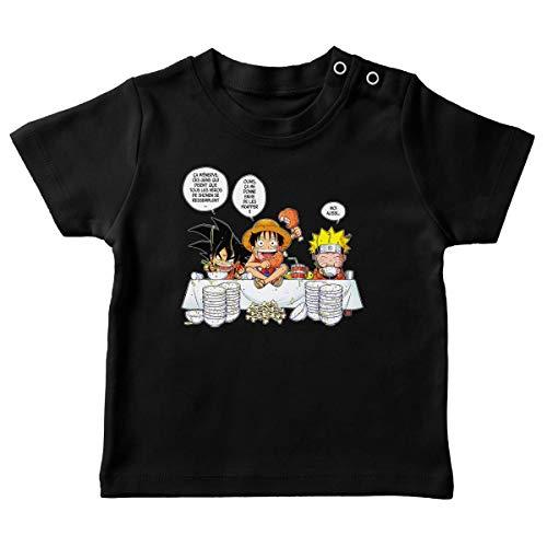 T-Shirt bébé Noir Parodie DBZ, One Piece et Naruto - Luffy, Naruto et Sangoku - La Recette d'un Bon Shonen Manga (Super Deformed) (T-Shirt de qualité Premium de Taille 6 Mois - imprimé en France)