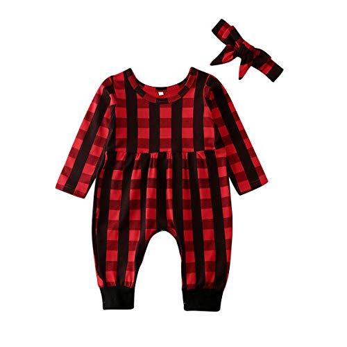 Carolilly Vestito Natale Neonata Bambina Pagliaccetto a Manica Lunga a Quadri Rosso +Fascia per Neonata