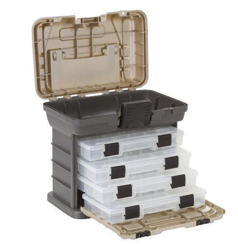 Plano Molding 135430 Stow N' Go Pro Rack with 4 #23500s Prolatch Organizers,Graphite Gray, Sandstone