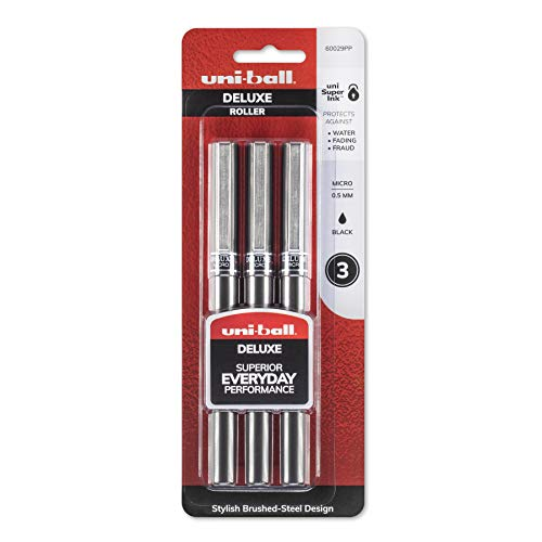 uni-ball Deluxe Micro Point Roller Ball Pens, Black, 3 (60029PP) by Uni-Ball