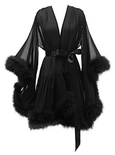 Women's Feather Bride Bridesmaids Robe Illusion Wedding Kimono Bridal Dressing Gown Sleepwear Black S/M