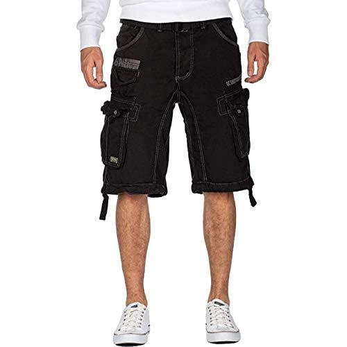 Geographical Norway PANORAMIQUE Men - Herren Bermuda Shorts Kurze Manner - Herren Sport Cargo Short Sommer - Regular Herrenshorts Chino Bermuda Shorts Fit SCHWARZ 3XL